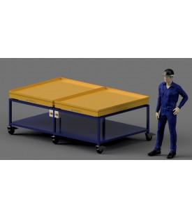 table vibrante pour fabrication de pavé - 2 plateaux vibrants indépendants pour réception des moules de 1.5 x 1.1m